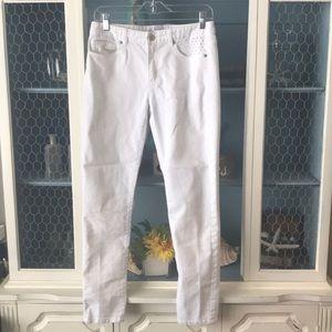 Michael Kors White Studded Denim Skinny Jeans sz 6